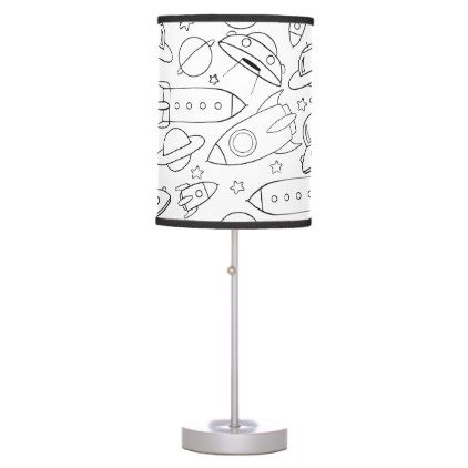 Space And Pizza Pattern Desk Lamp Drawing Sketch Design Graphic Draw Personalize Lamp Table Pendant Desk Lamp