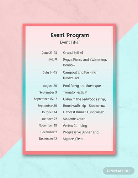 Free Event Program In 2019 Program Template Event Ticket