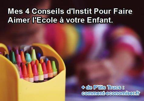 Votre comportement peut largement influer sur la façon qu'a votre enfant de percevoir l'école. Alors voici mes 4 secrets pour l'école soit un plaisir pour votre enfant.  Découvrez l'astuce ici : http://www.comment-economiser.fr/conseils-aimer-ecole.html?utm_content=bufferec53c&utm_medium=social&utm_source=pinterest.com&utm_campaign=buffer