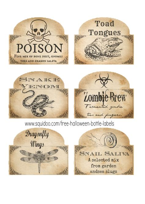 These free, printable Halloween bottle labels are absolutely awesome! And I can see using them for other Halloween crafts and home decor projects, too, not just on bottles. Wonderful! http://www.squidoo.com/free-halloween-bottle-labels