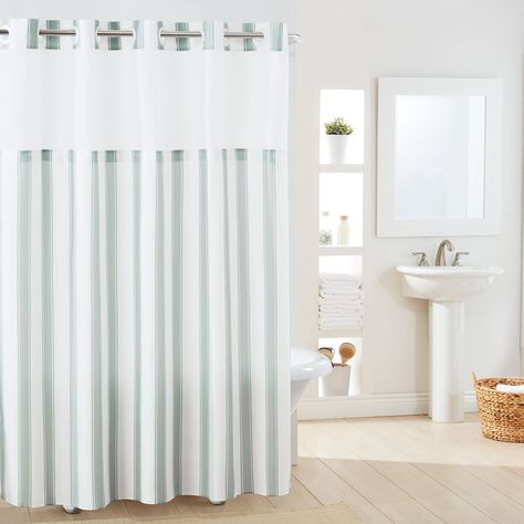 Hookless Stripe Shower Curtain Liner Pink Shower Curtains