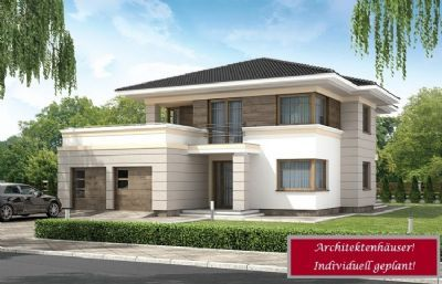Hausbau ideen mit garage  Stadtvilla mit Doppelgarage, Dachterrasse und Balkon in massiver ...