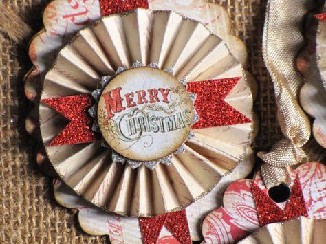 Set of THREE Vintage Inspired MERRY CHRISTMAS by JanieDMattern, $12.00