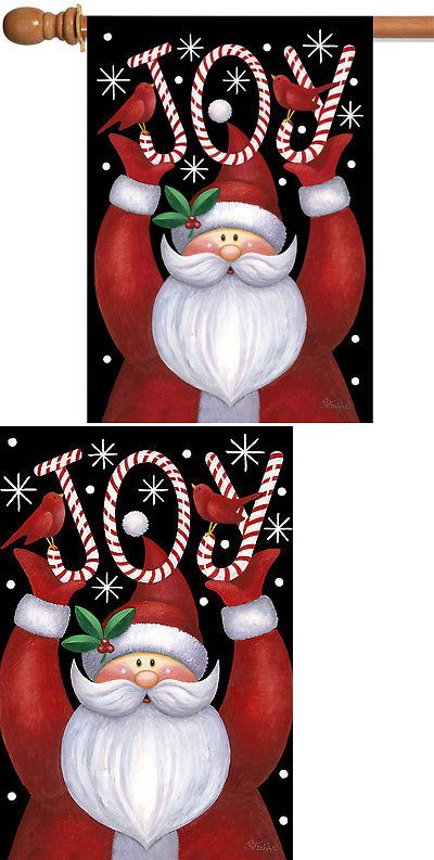 Flags 43533 Toland Santa Joy 28 X 40 Christmas Holiday Snow Double Sided House Flag Buy It Now Only 17 98 On Christmas Holidays Holiday Winter Christmas
