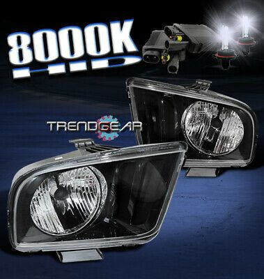 2005 2009 Ford Mustang Crystal Headlights Hid Kit Black 2006 2007 2008 Shelby Gt Ebay In 2020 Ford Mustang 2009 Ford Mustang 2010 Ford Mustang