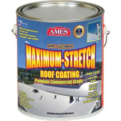 Ames 1 Gal White Maximum Stretch Rubber And Acrylic Reflective Roof Coating Mss1 The Home Depot Rubber Roof Coating Roof Coating Elastomeric Roof Coating