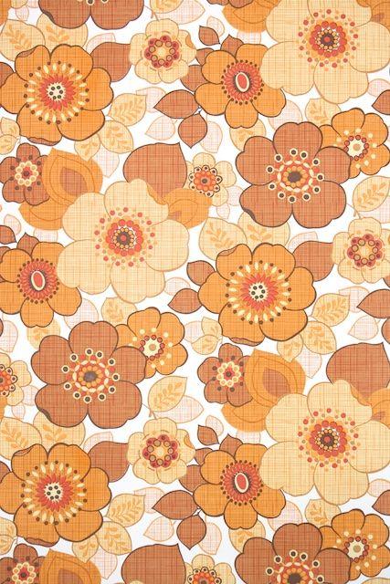 Vintage Original 60s 70s FRESH FROM THE GARDEN Floral Mid Century Wallpaper