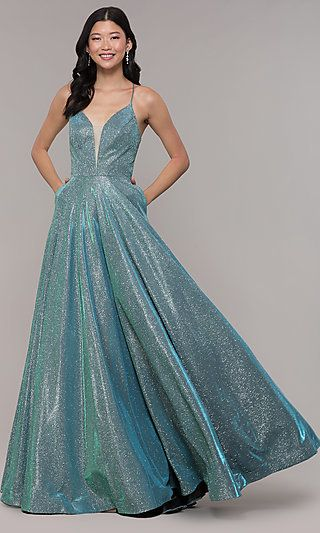 Open Back Long Metallic V Neck Prom Gown Gowns Prom Dresses Ball Dresses