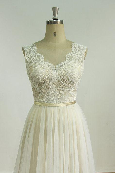 Romantische Elfenbein rückenfreie Tüll Hochzeit Spitzenkleid mit Champange Futter  Material: Tüll, Spitze Verzierung: Spitze Kontur: Eine Linie
