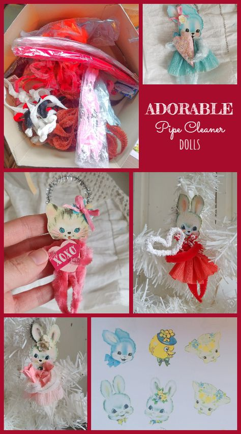 How to Make Adorable Pipe Cleaner Dolls! Valentine Decorations, Valentine Crafts, Easter Crafts, Christmas Crafts, Valentine Cupcakes, Pink Cupcakes, Xmas, Pipe Cleaner Crafts, Pipe Cleaners