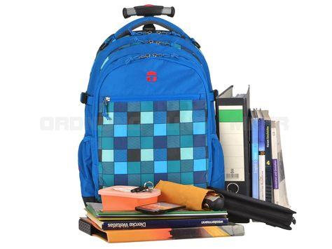 Take it Easy LAGOON - Rucksack Trolley Schulrucksack Schulranzen - blau türkis kariert 28045-555-012