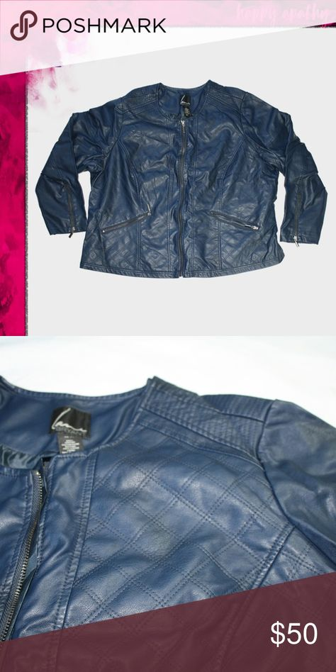 6429abd3fcf Lane Bryant Faux Leather Jacket in Dark Blue Dark Blue faux leather jacket.  Size 26 28. Zipper