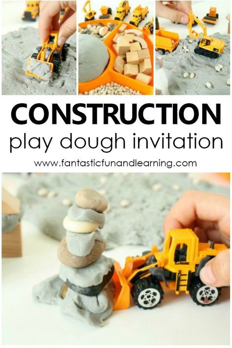 Construction Site Play Dough Invitation