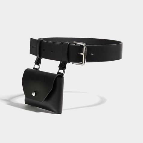 Fleet Ilya Pocket Belt in Black & Silver #fleetilya #leather #fannypack #utilitarianchic