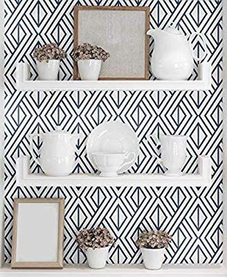 Nextwall Diamond Geometric Peel And Stick Wallpaper Decor Navy Blu Wallpaper Living Room Accent Wall Kitchen Wallpaper Accent Wall Accent Walls In Living Room
