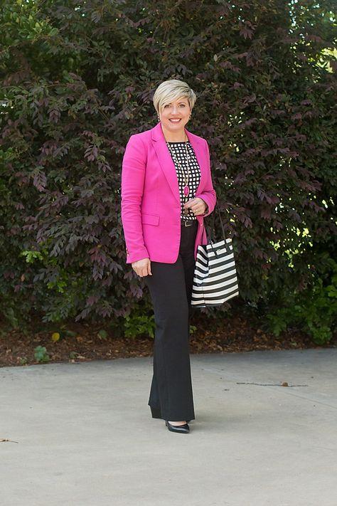 24b326627447d office outfit formulas, bright blazer, black pants, work wear, office wear, office  outfits women