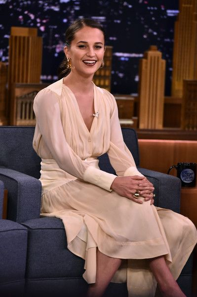 Alicia Vikander visits 'The Tonight Show Starring Jimmy Fallon.'