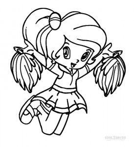 Printable Coloring Picture Of Cheerleader For Teenage Girls