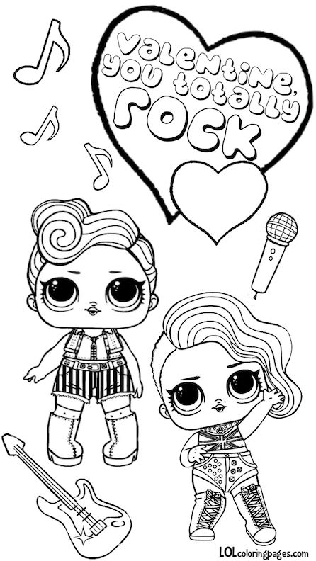 Lol Dolls Totally Rock Valentine Coloring Page Valentine