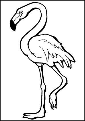 Kostenlose Malvorlage Tiere Flamingo Zum