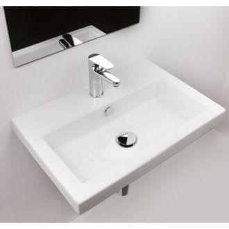 40 White Ceramic Rectangular Wall Mount Bathroom Sink With Overflow Drop In Bathroom Sinks Wall Mounted Bathroom Sinks Ceramic Bathroom Sink