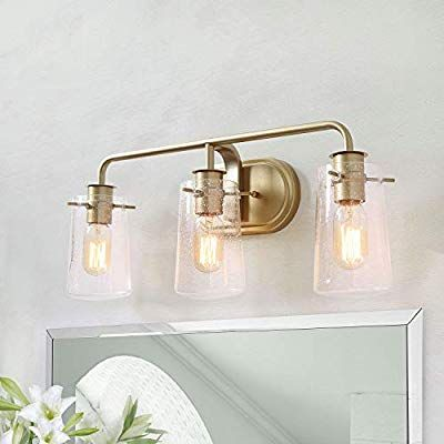 Ksana Gold Bathroom Light Fixtures 3 Lights Vanity Light Fixture