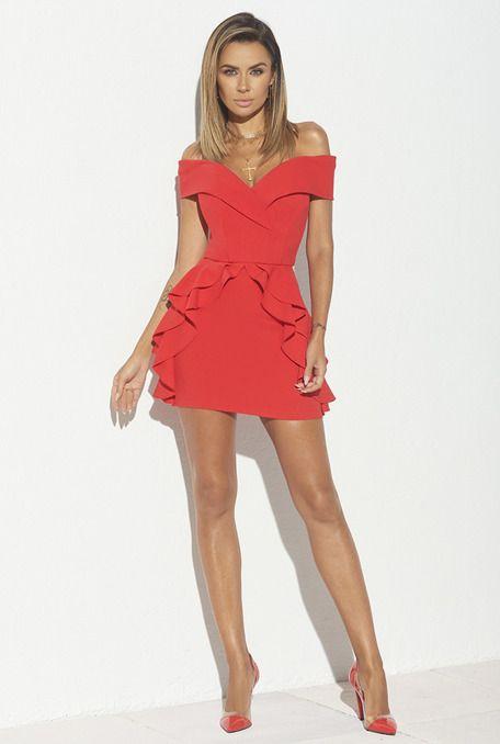 Zimmi Czerwona Sukienka Z Falbankami Mini Dress Fashion Dresses