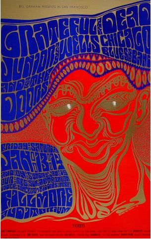 Psychedelic posters from the late 1960s hippie subculture, which centered in the Haight-Ashbury section of San Francisco, were so named because they were related to anti-establishment values, rock music, and psychedelic drugs. Seen here - a Wes Wilson poster for a rock concert, 1966.