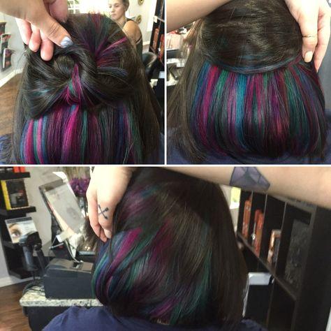 Peekaboo color or hidden color, Mermaid Hair by Deanna Henning @ Studio_M Salon in Melbourne, Florida