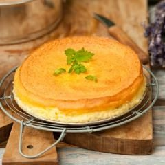 Käsekuchen ohne boden mit grieß und vanillepudding