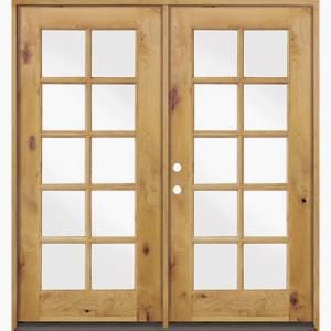 Krosswood Doors 60 In X 80 In French Knotty Alder 10 Lite Clear Glass Unfinished Wood Left Active Inswing Double Prehung Front Door Phed Ka 410 50 68 134 La Clear Stain Wood Double Doors Exterior Clear Stain