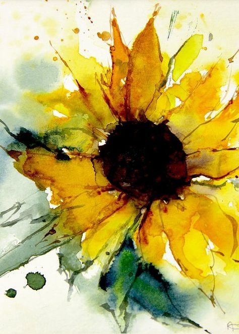 Watercolor Greeting Card featuring the painting Watercolor Sunflower by Annemiek Groenhout