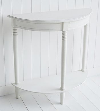 Colonial White Half Moon Small Hall Table With Shelf White