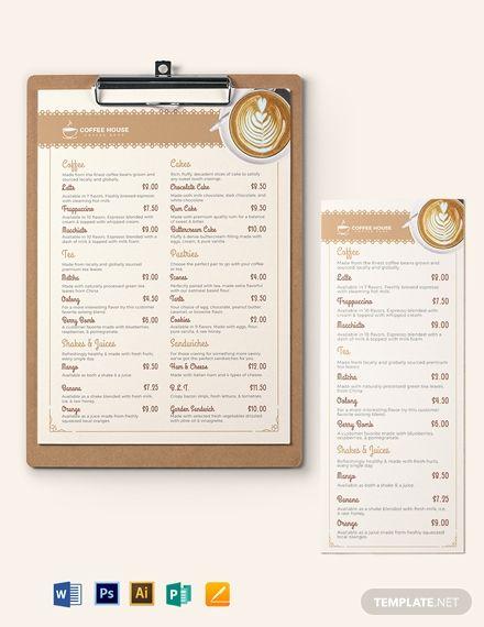 Classic Cafe Coffee Shop Menu Menu Template Menu Template Word
