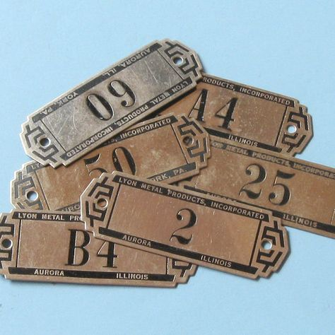 3 Antique Lyon Metal Tags Gym Locker Basket Tags by timepassages, $12.00