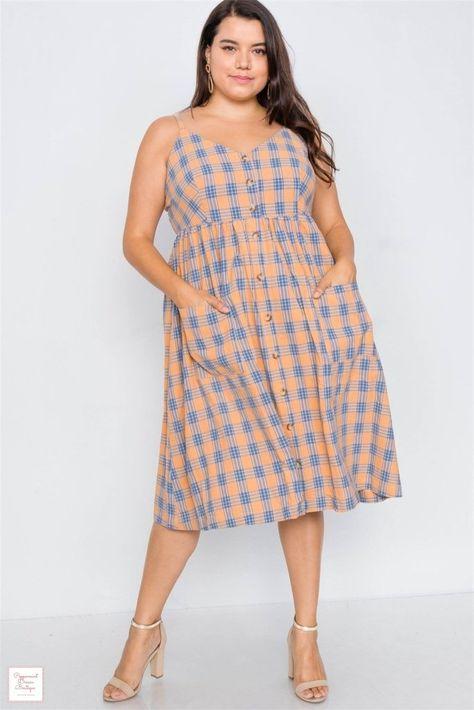 Bright Crisscross Plaid Cami Midi Dress - 3XL