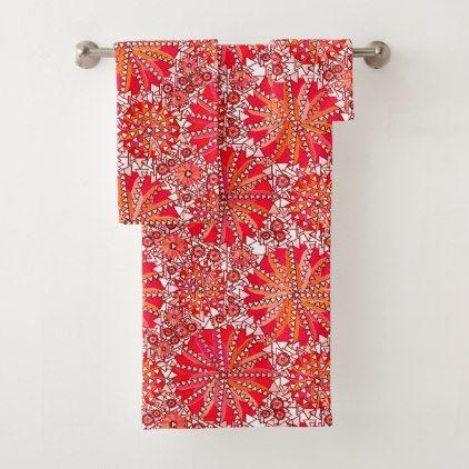 Tribal Mandala Print Coral Red And White Bath Towel Set Zazzle