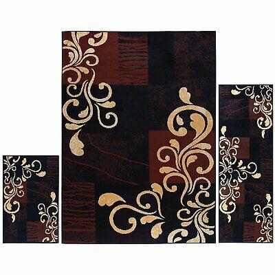 Black Brown Gold Scroll 3 Pc Area Rug Set Accent Mat Carpet Runner 5 X 7 Ft 2x3 Ebay Area Rug Sets Rug Sets Area Rugs