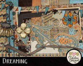 Digital Paper Pack Dreaming Digital Kit Digital Scrapbook Kit Clipart Shabby Cottage Chic Digital Scrapbooking Papers /& Embellishments