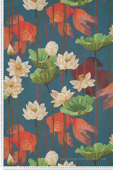 Papier Peint Japonais Poissons Lotus Bleu Odyssee D Ugepa En 2020 Lotus Bleu Papier Peint Papier Peint Nature