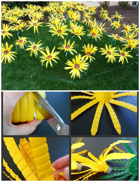 Sonnenblumen bottle crafts Making Sunflowers from Water Bottles - The Make Your Own Zone Water Bottle Flowers, Water Bottle Crafts, Plastic Bottle Art, Recycle Plastic Bottles, Crafts With Water Bottles, Water Bottle Art, Plastic Spoons, Plastic Art, Flower Crafts