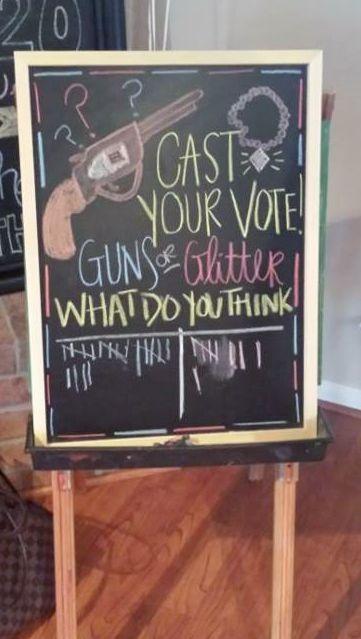 Gender Reveal Guns or Glitter theme. Cast your vote chalkboard.