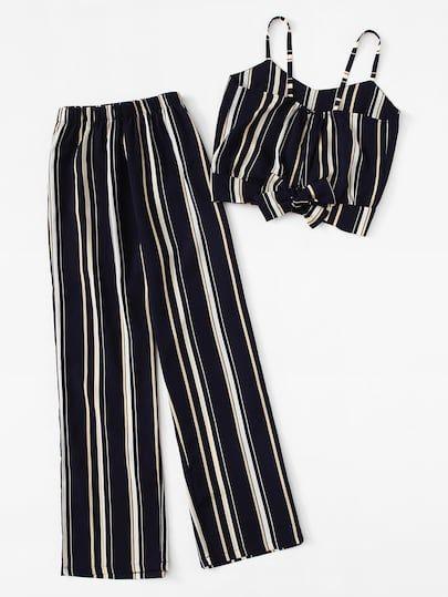 Conjunto De Top Y Pantalones De Rayas Ropa Rayada Moda De Ropa Ropa De Moda