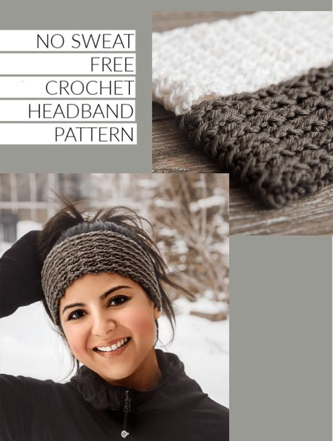 No Sweat Free Crochet Headband Pattern - Leelee KnitsYou can find Crochet headbands and more on our website.No Sweat Free Crochet Headband Pattern - Leelee Knits Easy Crochet Headbands, Sweat Headbands, Winter Headbands, Baby Headband Crochet, Baby Headbands, Crochet For Beginners Headband, Crochet Ear Warmer Pattern, Knit Headband Pattern, Free Crochet Headband Patterns