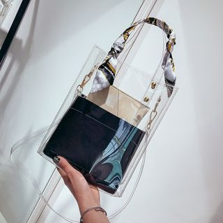 LADIES TRANSPARENT BUCKET LARGE WOMENS CLEAR PVC ANIMAL POUCH ZIP SHOULDER BAG