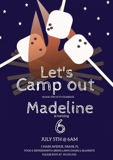 Camp BonFire Birthday Party Invitation
