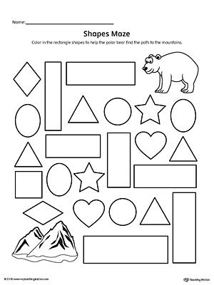 Rectangle Shape Maze Printable Worksheet Shapes Preschool