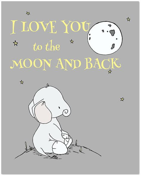 Elephant Nursery Art : I love you to the moon and back. *frame NOT included You can CUSTOMIZE this print to any colors you choose, either from the color chart or a picture or link, just let me know and I can create a custom listing for you! *Be sure to select your size in the