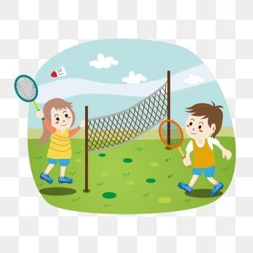Cartoon Cute Children Playing Badminton Outdoor Sport Fitness Elements Cartoon Lovely Motion Png And Vector With Transparent Background For Free Download In 2020 Kids Background Children S Day Cartoon Airplane
