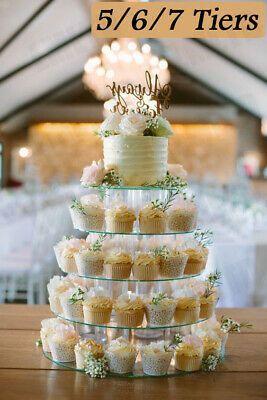 5-7 Tier Round Cake Stand Clear Acrylic Wedding Birthday Display Cupcake Tower